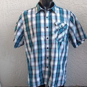 Men's Short Sleeve Shirt Casual Plaid 2XL